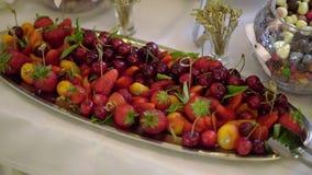 Плоды и ягоды на плите сток-видео
