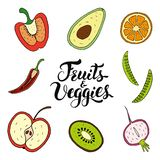 Плоды и Veggies вручают вычерченный набор вектора стоковое фото