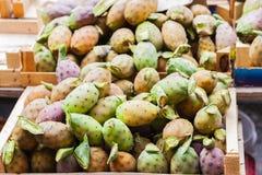 Плоды кактуса колючей груши также известного как Opuntia, opuntia фикус-indica, индийской смоквы для продажи в рынке плода  стоковые изображения