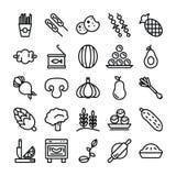 Плоды, овощи и закуски пакуют иллюстрация штока