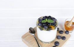 Плод голубики йогурта брызгает мед стоковое изображение rf