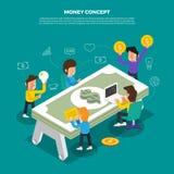 """Плоская бредовая мысль идеи проекта работая на """"Money значка настольного компьютера Стоковое Фото"""