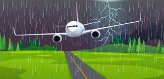 Плоская вынужденная посадка на авиапорте иллюстрация штока