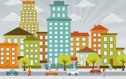 Плоская жизнь города бесплатная иллюстрация