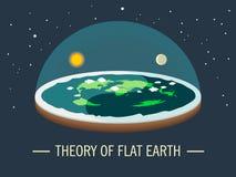 Плоская земля с атмосферой с солнцем и луной Старое верование в плоском глобусе в форме диска Иллюстрация вектора