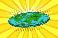 Плоская земля с ландшафтом природы Глобус в форме диска Vector яркая предпосылка в стиле искусства шипучки ретро шуточном Иллюстрация штока