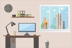 Плоская иллюстрация вектора дизайна коричневого цвета места для работы офиса затеняет обозревать город Стоковые Фотографии RF