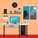 Плоская иллюстрация вектора рабочего места иллюстрация вектора