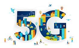 плоская иллюстрация вектора 5G Люди с мобильными устройствами в умном городе иллюстрация вектора