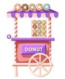 Плоская иллюстрация дизайна автомобиля donuts Передвижной ретро винтажный значок тележки магазина с шильдиком с большим донутом с Стоковые Фотографии RF