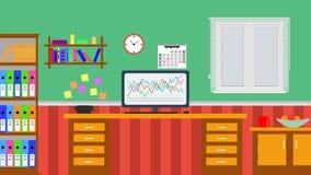 Плоская иллюстрация дизайна домашнего офиса с венецианскими шторками Стоковые Изображения
