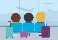 Плоская иллюстрация дизайна 3 людей сидя на местах в Стоковые Фото