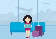 Плоская иллюстрация дизайна молодой женщины с чемоданом и lu Стоковое Изображение