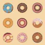 Плоская иллюстрация значка при шоколад взбрызнутый, с помадками Установите свеже испеченное печенье иллюстрация штока