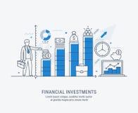 Плоская иллюстрация лини-искусства финансовых инвестиций бесплатная иллюстрация