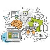 Плоская красочная идея проекта для обучения по Интернетуу Стоковое Изображение