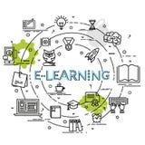 Плоская красочная идея проекта для обучения по Интернетуу Стоковое Фото