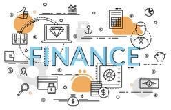 Плоская красочная идея проекта для финансов и денег Стоковое Фото