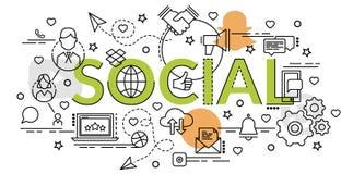 Плоская красочная идея проекта социальной сети Стоковая Фотография RF