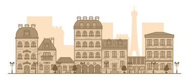 Плоская линейная панорама ландшафта города со зданиями и домами туризм, перемещение к иллюстрации вектора Парижа бесплатная иллюстрация