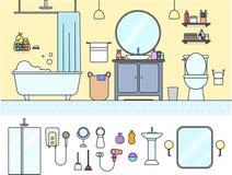 Плоская линия ванная комната вектора & комплект туалета Стоковая Фотография RF