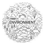 Плоская линия знамя окружающей среды стиля Стоковое Фото