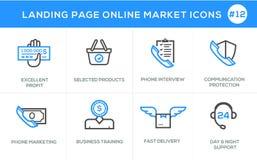 Плоская линия значки идеи проекта для онлайн покупок, знамени вебсайта и страницы посадки Стоковое Фото