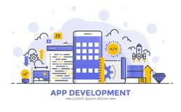 Плоская линия иллюстрация концепции градиента современная - развитие App