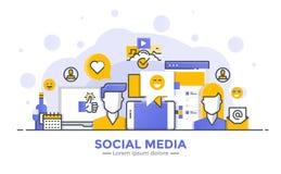 Плоская линия современная иллюстрация концепции - социальный Meda