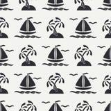 Плоская линия шлюпка океана картины monochrome вектора безшовная, ветрило, ладонь, остров Стиль шаржа ретро regatta Чайка Стоковое фото RF