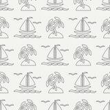 Плоская линия шлюпка океана картины monochrome вектора безшовная, ветрило, ладонь, остров Стиль шаржа ретро regatta Чайка Стоковые Фотографии RF