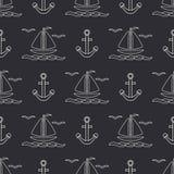 Плоская линия шлюпка океана картины monochrome вектора безшовная с ветрилом, анкером Стиль шаржа ретро regatta Чайка Лето Стоковая Фотография RF