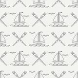 Плоская линия шлюпка океана картины monochrome вектора безшовная с ветрилом, затвором Стиль шаржа ретро regatta Чайка Лето Стоковые Фотографии RF