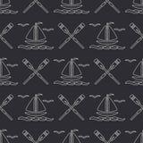 Плоская линия шлюпка океана картины monochrome вектора безшовная с ветрилом, затвором Стиль шаржа ретро regatta Чайка Лето Стоковая Фотография