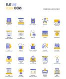 Плоская линия multicolor дизайн и развитие дизайн-сети значков бесплатная иллюстрация