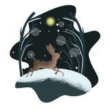 Плоская открытка характера зайцев с милым ландшафтом бесплатная иллюстрация