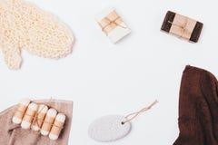 Плоская положенная рамка естественных продуктов красоты стоковые фото