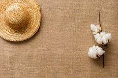 Плоская предпосылка положения с соломенной шляпой и хлопок цветут на ткани мешковины/концепции каникул пляжа лета стоковые фото
