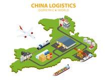 Плоская равновеликая иллюстрация вектора 3d Глобальная доставка и снабжение infographic Распределение товаров на всем Стоковые Изображения
