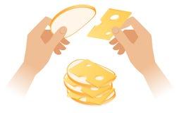 Плоская равновеликая иллюстрация рук делая сандвич сыра бесплатная иллюстрация