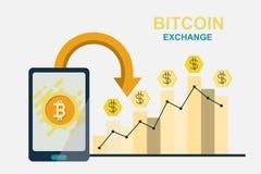 Плоская современная идея проекта технологии cryptocurrency, bitcoin Стоковая Фотография