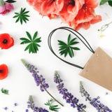 Плоская сумка бумаги положения цветет амарулис маков взгляд сверху создается Стоковая Фотография RF