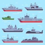 Плоские военные шлюпки Линкоры военно-морского флота, шлюпка безопасностью боя моря и оружие линкора Военноморское собрание векто иллюстрация вектора