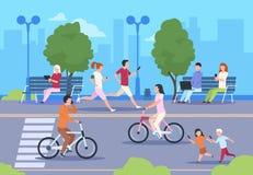 Плоские горожане улицы Велосипед ландшафта природы парка городка идет человек и женщина городского образа жизни идя улица ночи го иллюстрация вектора