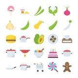 Плоские еда дизайна и собрание значков пить Стоковая Фотография RF