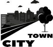 Плоские значки установили городского ландшафта и городской жизни черно-белых бесплатная иллюстрация
