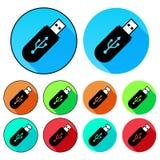 Плоские, круговые значки привода USB Яркие цветы С и без плана Стоковые Изображения RF