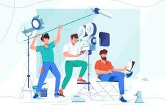 Плоские молодые люди с бородой и фильмы снимая оборудование бесплатная иллюстрация