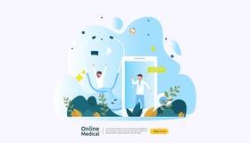 Плоские онлайн медицинский совет или обслуживание здравоохранения Концепция поддержки доктора звонка с характером людей шаблон дл иллюстрация вектора