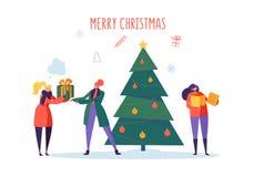 Плоские счастливые люди с подарками и рождественской елкой Веселая партия праздника Xmas Характеры празднуя канун Нового Годаа иллюстрация штока